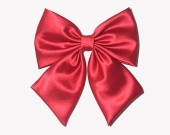 Red Satin Hair Bow