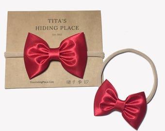Satin Red Hair Bow Headband