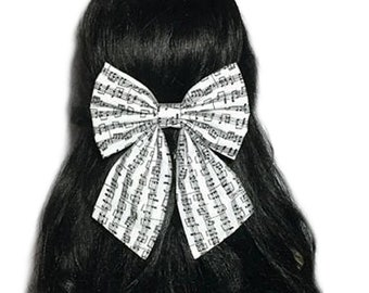 Music Notes Hair Bow