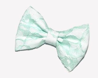 Mint Lace Hair Bow