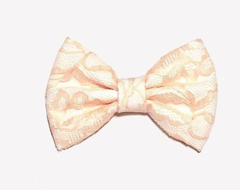 Peach Lace Hair Bow