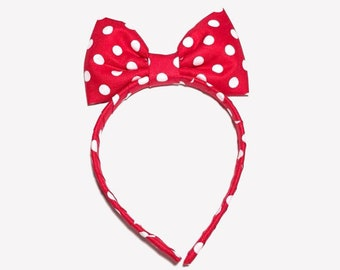 Red and white Polka Dot Headband Bow, Cosplay Costume Anime, Fun Minnie Mouse Headband Bow, Red Polka Dot Headband, Red Bow Headband, Women
