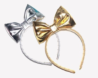 Silver or Gold Bow Headband , Christmas Party Headband, Cosplay Anime Bow, Kawaii Gold Hair Bow, Dance Hair Bow, Costume Accessories, Girls