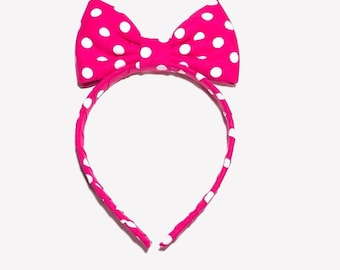 Pink and white Polka Dot Headband Bow, Cosplay Costume Anime, Fun Minnie Mouse Headband Bow, Pink Polka Dot Headband, Pink Bow Headband Girl