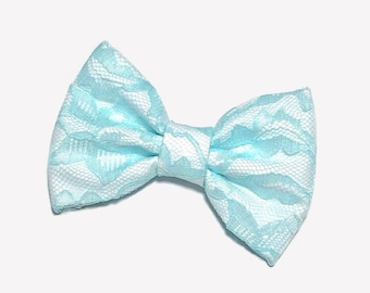 Light Blue Lace Hair Bow