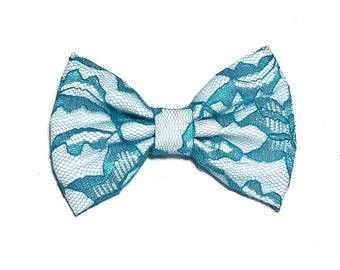 Teal Lace Hair Bow