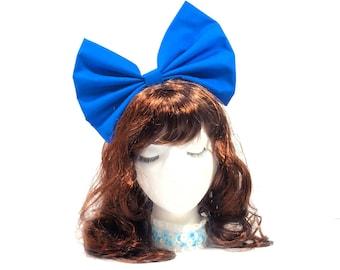 Large Blue Bow, Big Blue Bow Headband, Cosplay Headband, Blue Hair Bow, Bows For Women, Bows Cosplay, Huge Hair Bow, Oversize Hair Bow, Bows