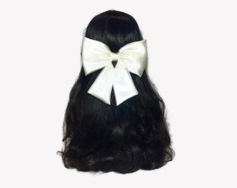 White Satin Hair Bow