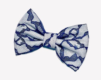 Navy Blue Lace Hair Bow