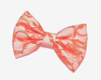 Orange Lace Hair Bow