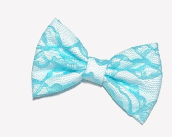 Blue Radiance Lace Hair Bow
