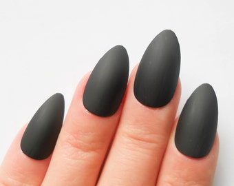 Matte Black Nails / Fake Nails / Stiletto Nails / Press on Nails / False Nails / Acrylic Nails