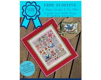 Pink Positive (BRD-122) Counted Cross Stitch Chart – Digital Pattern PDF Download