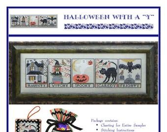 """Halloween With A """"Y"""" (BRD-096) Cross Stitch Design"""