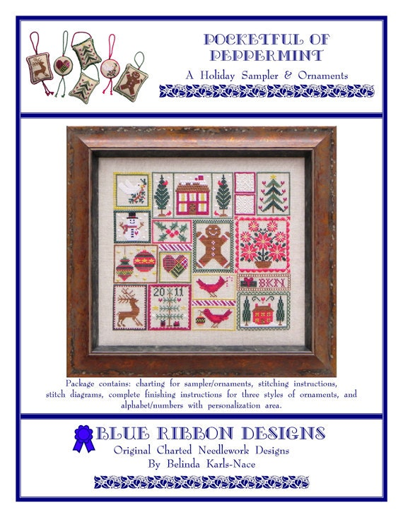 Pocketful Of Peppermint Brd 102 Cross Stitch Design Etsy