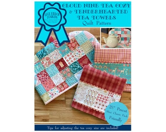 Cloud Nine Tea Cozy and Tenderhearted Tea Towels Quilt Pattern - Digital Pattern PDF Download
