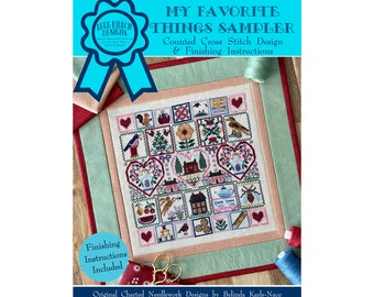 My Favorite Things Sampler (BRD-120) Counted Cross Stitch Chart – Digital Pattern PDF Download