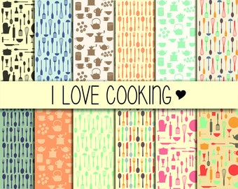 Kitchen utensils/Cooking acessories, Cardmaking, Printable Digital Paper Pack, Scrapbook Paper, Instant Download, Scrapbooking