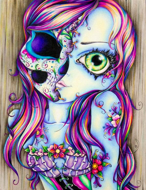 """Skull Lady Art Print- 8"""" x 10"""""""