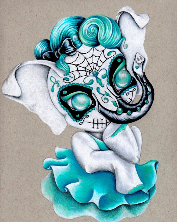 "Sugar Skull Ellie 8""x10"" Art Print"