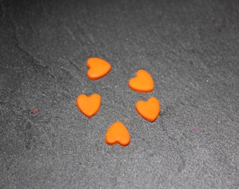 lot 5 miniature hearts orange polymer clay