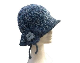 f802094e8d2 Knitted wool bell hat in blue wool