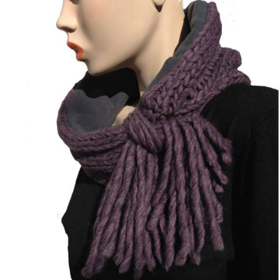 Snood en laine femme tricoté violet doublé polaire gris noeud   Etsy a167eec0b51