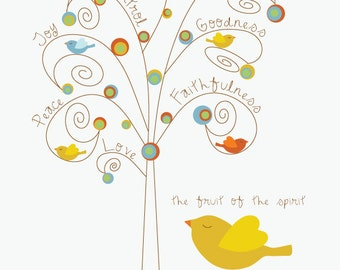 Fruit of the Spirit . fruit tree and birdies . Scripture print with Galatians 5:22-23