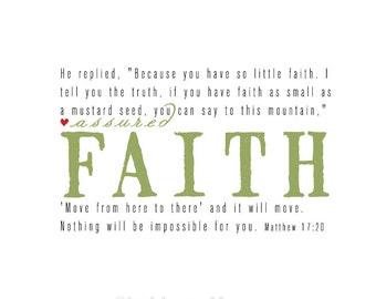 Assured Faith Scripture Print with Matthew 17:20