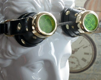 Steampunk, Goggles, small, childs, ladies, black leather, brass, target etched eye pieces