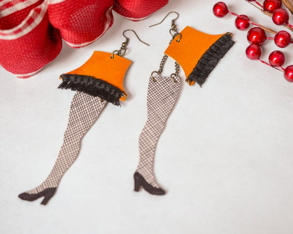 Leg Lamps From A Christmas Story.Leg Lamp Earrings A Christmas Story Christmas Earrings Leather Earrings