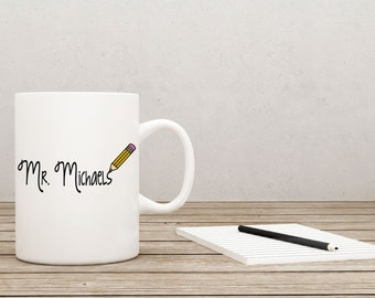 Personalized Teacher Coffee Mug Teacher Gift Apple