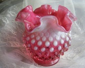 Pink HOBNAIL GLASS Decorative Vase Bowl Midcentury