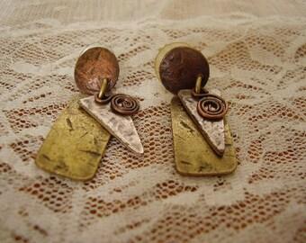 Vintage Copper/Brass/Silver PIERCED EARRINGS