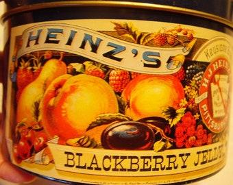 HEINZ'S Collectible Blackberry Jelly TIN/Storage/1984