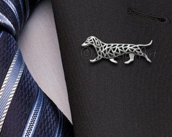 Dachshund movement brooch - sterling silver