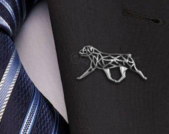 Rottweiler movement brooch - sterling silver.