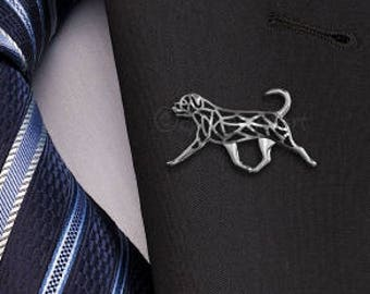 Rottweiler movement (natural tail) brooch - sterling silver.