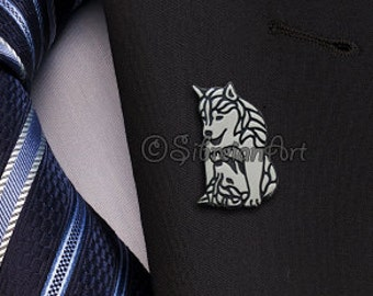 Siberian Husky playing puppies brooch - sterling silver