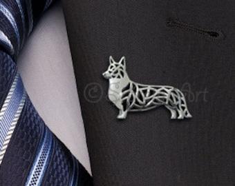 Cardigan Welsh Corgi brooch - sterling silver.