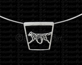 Siberian Husky movement trapeze - sterling silver pendant and chain.