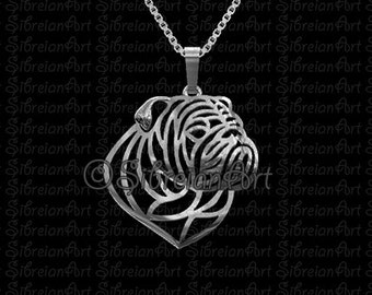 English Bulldog profile jewelry - sterling silver pendant and necklace