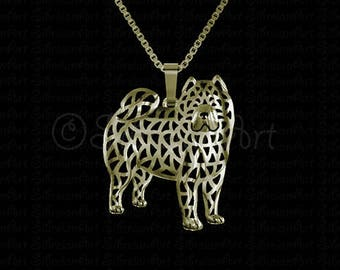 Smooth Chow Chow - Gold pendant and necklace.
