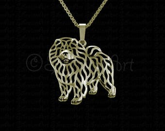 Chow Chow - Gold pendant and necklace.