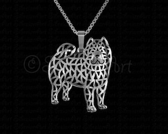 Smooth Chow Chow - sterling silver pendant and necklace.