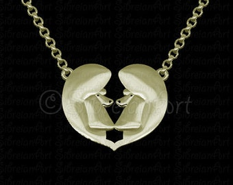 Poodle (show cut) Heart necklace - Solid Gold
