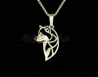 Alaskan Malamute profile jewelry - Solid Gold pendant and necklace