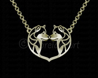 Alaskan Malamute heart jewelry - Solid Gold pendant and necklace