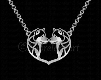 Alaskan Malamute heart pendant and necklace - sterling silver
