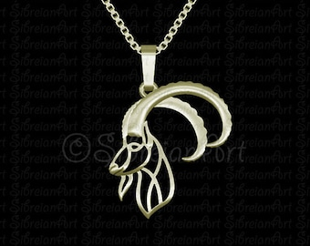 Ibex pendant and necklace - Solid Gold - animal lover gift - Nubian Ibex - gift idea - artwork - wildlife - goat - wild - wildlife